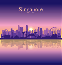 singapore city skyline silhouette background vector image