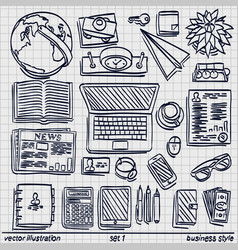 sketch work style sketch work set icon set 2 vector image