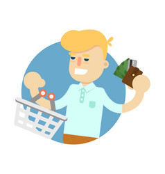 smiling man with shopping basket icon vector image