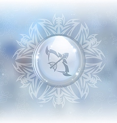 Snow globe with zodiac sign Sagittarius vector