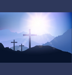 Sunset landscape with cross for easter vector