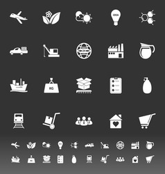 Supply chain and logistic icons on gray background vector image