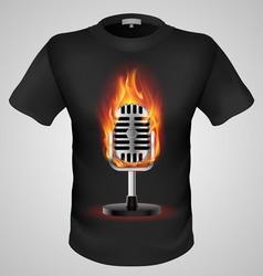 T shirts Black Fire Print man 25 vector