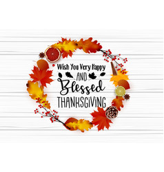 thanksgiving day greeting card with autumn wreath vector image