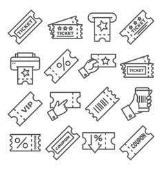 ticket and coupon line icons on white background vector image