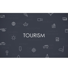 Tourism Thin Line Icons vector image