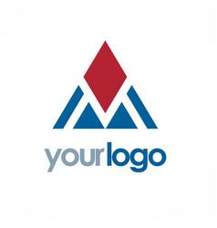 triangle pyramid shape logo vector image