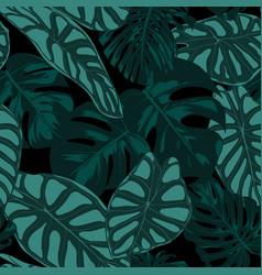 Tropic seamless pattern philodendron and alocasia vector