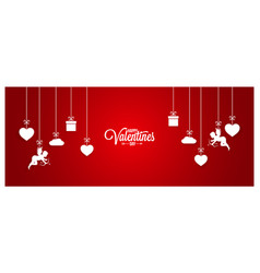 valentines day red banner on white background vector image