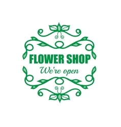 vintage badge for flower shop vector image