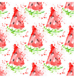 Watermelon slice seamless pattern with splashes vector