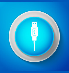 white usb cable cord icon on blue background vector image