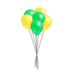 yellow and green bunch of helium color air balloon vector image