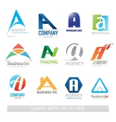 Business icons set with a letter vector image vector image