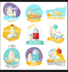 dairy products set of logos vector image vector image