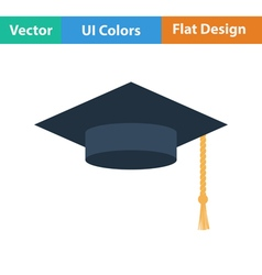 Flat design icon of Graduation cap vector image