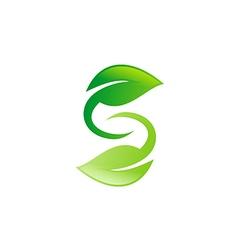 green leaf circle letter S logo vector image vector image