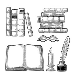 set education inkwell with feather pile books vector image