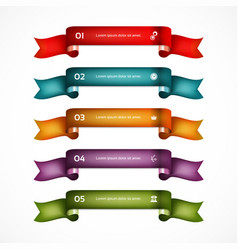 set of ribbons infographic design numbered banne vector image