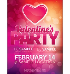 Valentines Day Party Poster vector image vector image