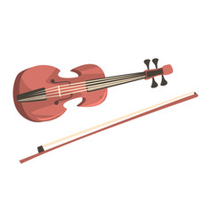 wooden violin with fiddlestick musical instrument vector image