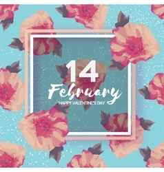 Peony Flowers Square frame 14 february Happy vector image vector image