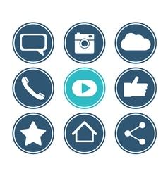 Social network icon set flat design collection vector