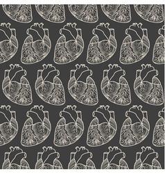 Anatomic heart seamless pattern vector