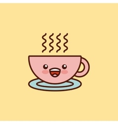coffee cup character kawaii style vector image