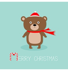 Cute brown bear in santa claus hat and scarf Candy vector image vector image