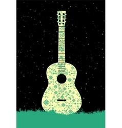 Music poster Folk ornament guitar concept vector image