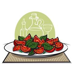 salad with basil2 vector image