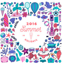 summer doodles design travel vacation vector image