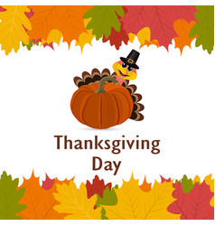 thanksgiving day banner with autumn leaves vector image