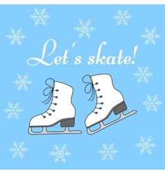 Winter holiday background with figure skates vector image