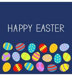 Colored Easter egg set Blue background Flat design vector image