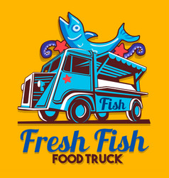 food truck fish shop delivery service logo vector image