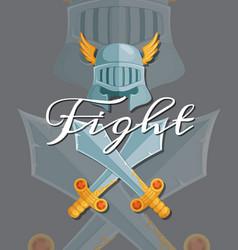 medieval crossed swords and helmet elements vector image