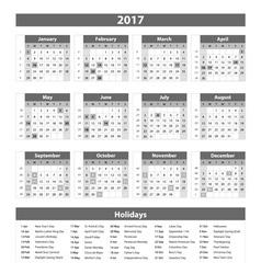 2017 Calendar grey - template of 2017 calendar vector image