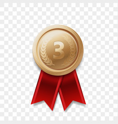 3 place winner bronze medal award ribbon vector image