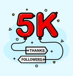 5k social media followers thank you vector