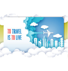 air travel poster template layered paper vector image