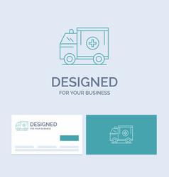 Ambulance truck medical help van business logo vector