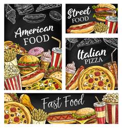 american fastfood posters sketch takeaway food vector image