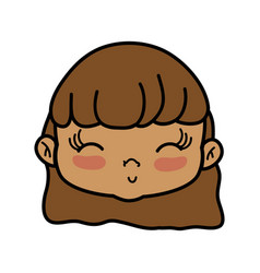 avatar girl head with hairstyle design vector image
