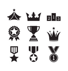 Award icons design set medals and trophy vector