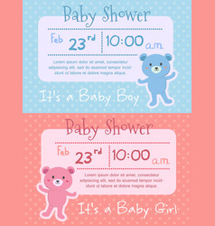 baby shower bear pink blue invitation card vector image