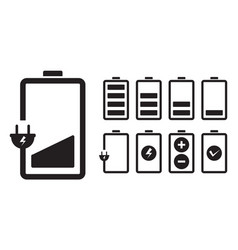 Battery charging charge indicator icon level vector