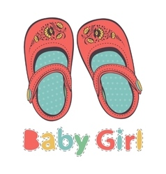 beautiful baby girl shoes vector image