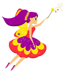 Beautiful flying fairy flapping magic wand elf vector